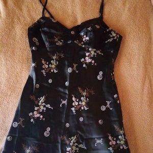 Rampage dress Medium black asian print 90s